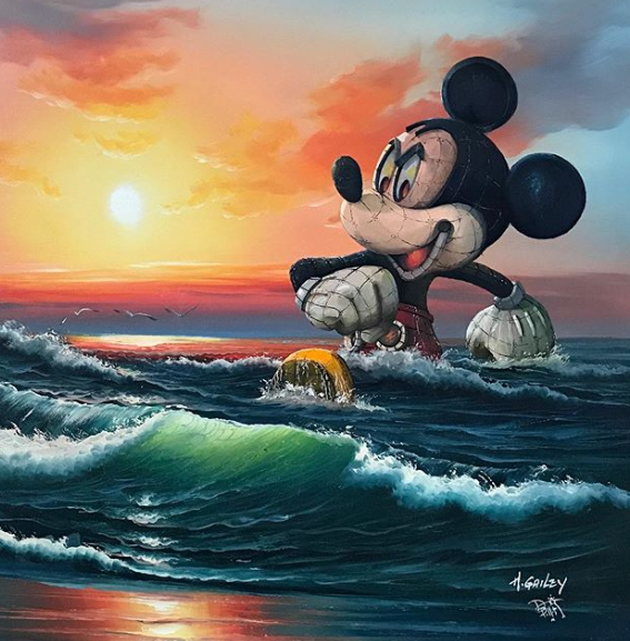 Mickey Mouse goes for a swim