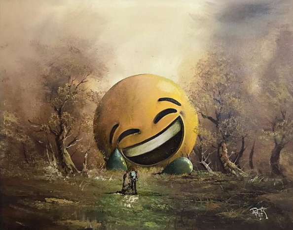 Laughing emoji in a landscape painting